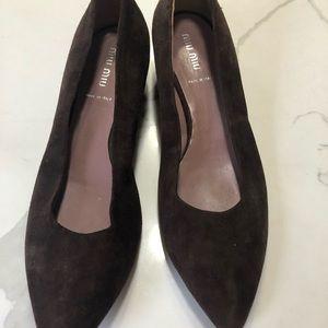 "💯 % authentic MiU MIU brown suede 1"" heels"